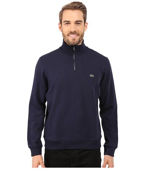 Lacoste - Light Weight Fleece 1/4 Zip Sweatshirt (Navy Blue) Men's Sweatshirt