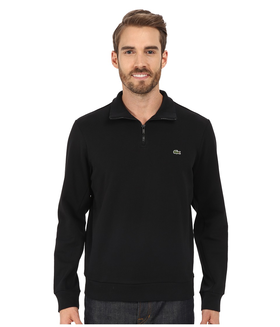 Lacoste - Light Weight Fleece 1/4 Zip Sweatshirt (Black) Men's Sweatshirt