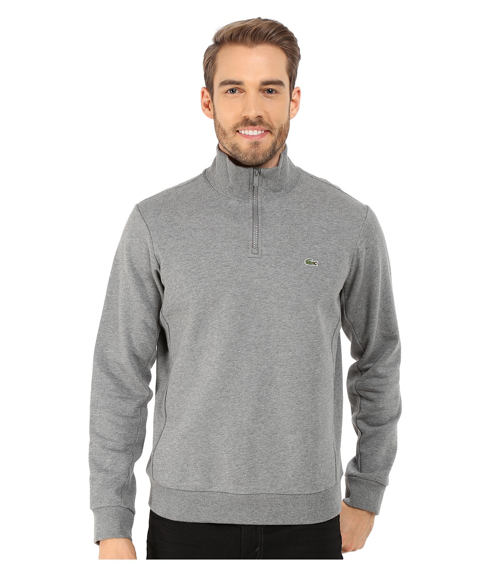 Lacoste - Light Weight Fleece 1/4 Zip Sweatshirt (Stone Grey) Men's Sweatshirt