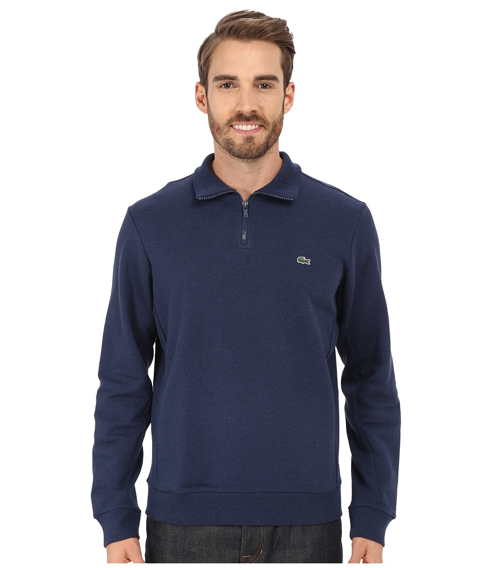 Lacoste - Light Weight Fleece 1/4 Zip Sweatshirt (Midnight Blue Chine) Men's Sweatshirt