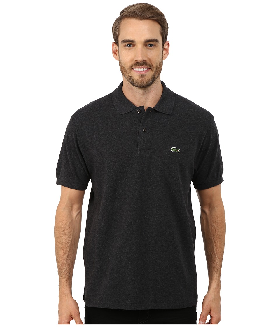 Lacoste - Short Sleeve Classic Fit Chine Pique Polo Shirt (Panther Black) Men's Short Sleeve Pullover