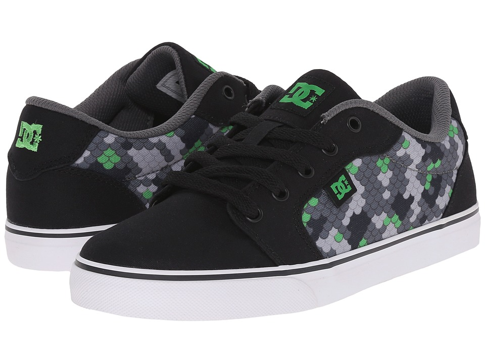 DC Kids - Anvil TX SE (Big Kid) (Black/Dark Grey Print) Boys Shoes