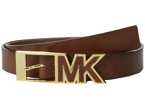 MICHAEL Michael Kors - 25mm Leather Panel on MK Inlay Center Bar Buckle Belt (Luggage) Women's Belts