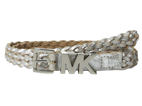 MICHAEL Michael Kors - 20mm Braided Leather Panel on MK Roller Buckle and Logo Loop Belt (Silver) Women