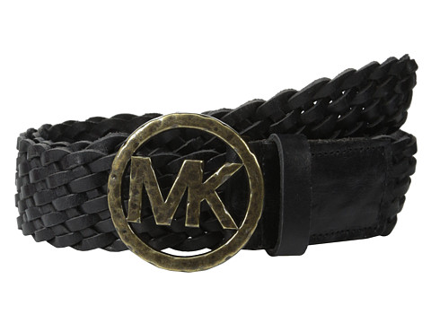MICHAEL Michael Kors - 40mm Braided Leather Panel on Hammered MK Plaque Buckle Belt (Black) Women