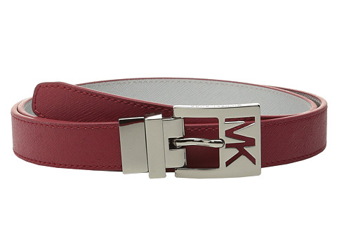 MICHAEL Michael Kors - 25mm Reversible Saffiano to Metallic Saffiano on MK Cutout Harness Buckle Belt (Red) Women