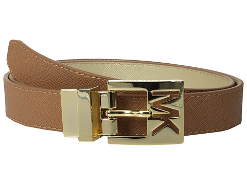 MICHAEL Michael Kors - 25mm Reversible Saffiano to Metallic Saffiano on MK Cutout Harness Buckle Belt (Luggage) Women's Belts