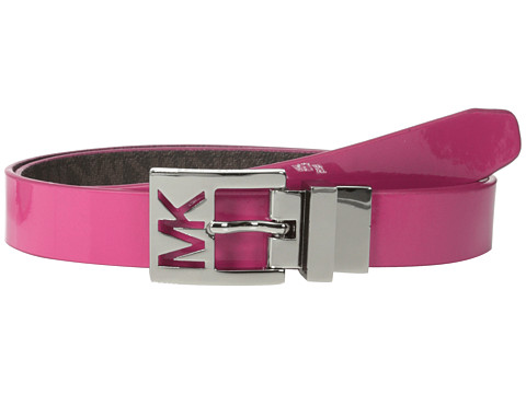 MICHAEL Michael Kors - 25mm Reversible Patent to Logo PVC on MK Cutout Harness Buckle Belt (Pink) Women's Belts