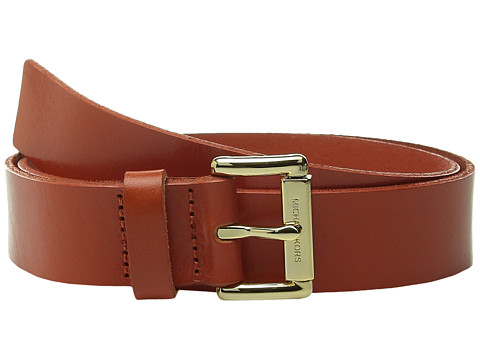 MICHAEL Michael Kors - 32mm Leather Panel on MK Roller Bar Buckle Belt (Orange) Women's Belts