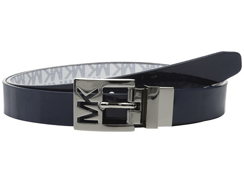 MICHAEL Michael Kors - 25mm Reversible Patent to Logo PVC on MK Cutout Harness Buckle Belt (Navy) Women's Belts