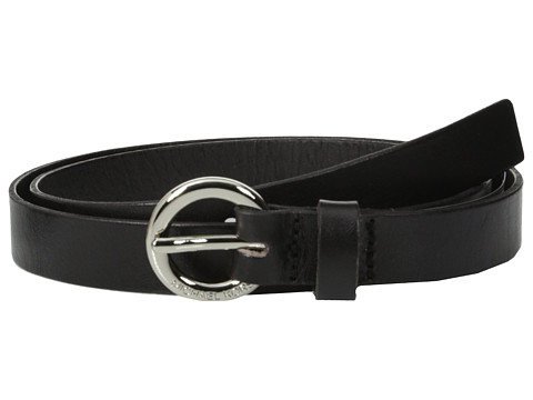 MICHAEL Michael Kors - 20mm Leather Panel on MK Ring Buckle Belt (Black) Women's Belts