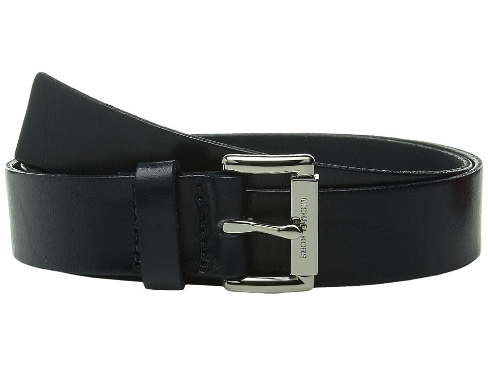 MICHAEL Michael Kors - 32mm Leather Panel on MK Roller Bar Buckle Belt (Navy) Women's Belts