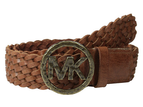 MICHAEL Michael Kors - 40mm Braided Leather Panel on Hammered MK Plaque Buckle Belt (Luggage) Women