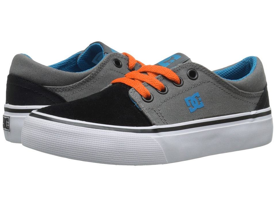 DC Kids Trase (Little Kid) (Grey/Black/Orange) Boys Shoes