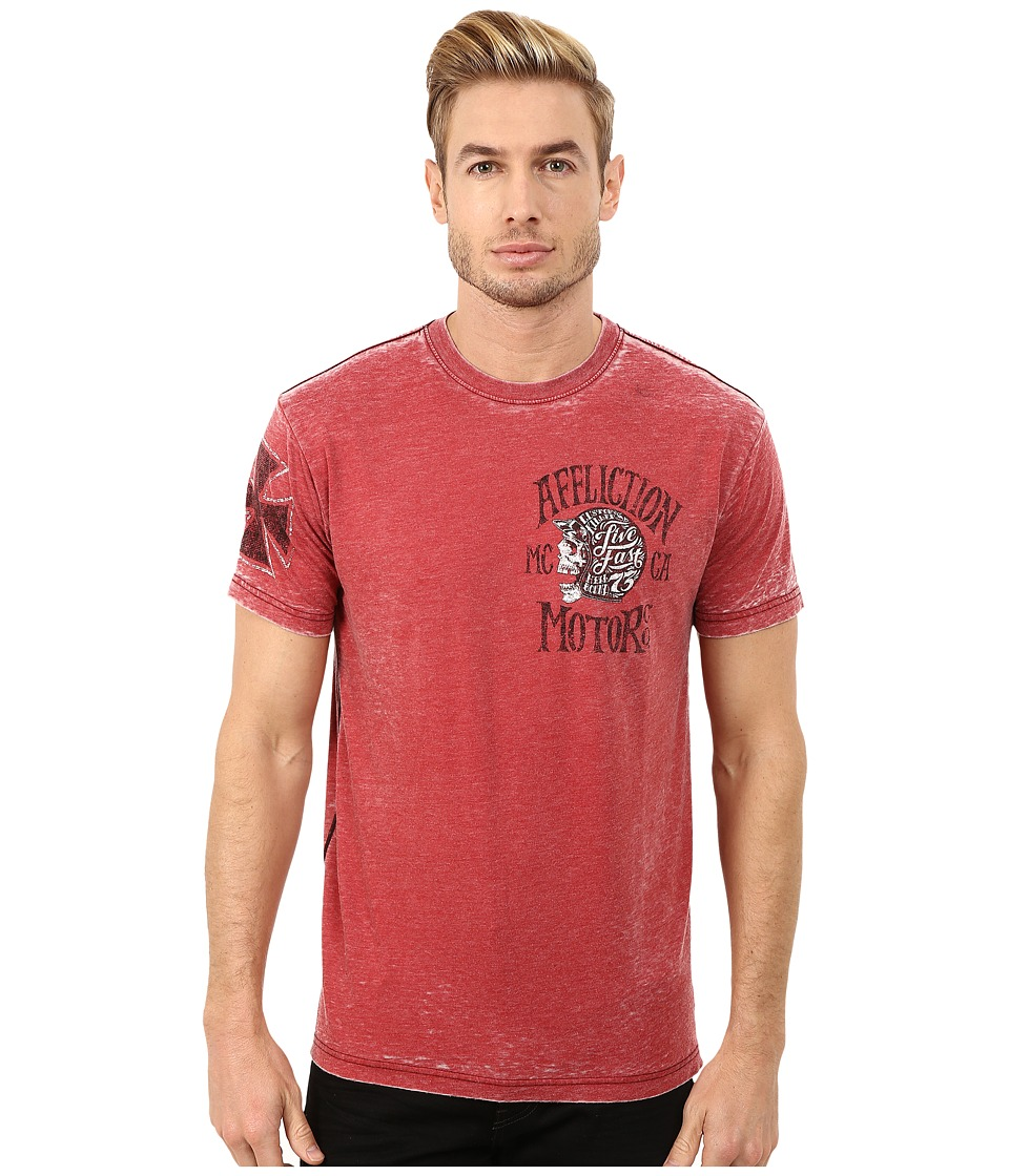 Affliction - Motor Co. Short Sleeve Crew Tee (Dirty Red Burnout) Men