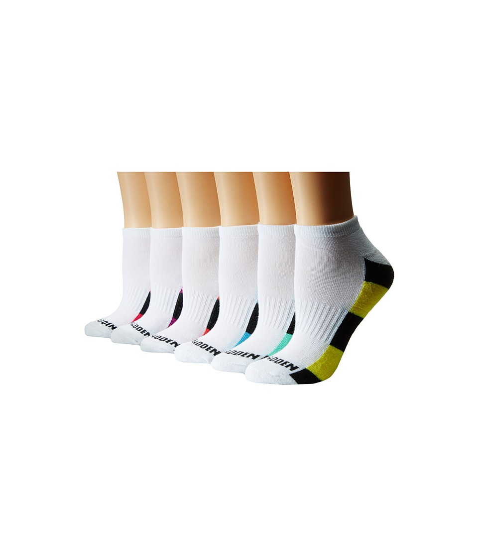 Steve Madden - 12-Pack 1/2 Cushion Arch Support Sole/Toe Contrast (White) Women's Low Cut Socks Shoes