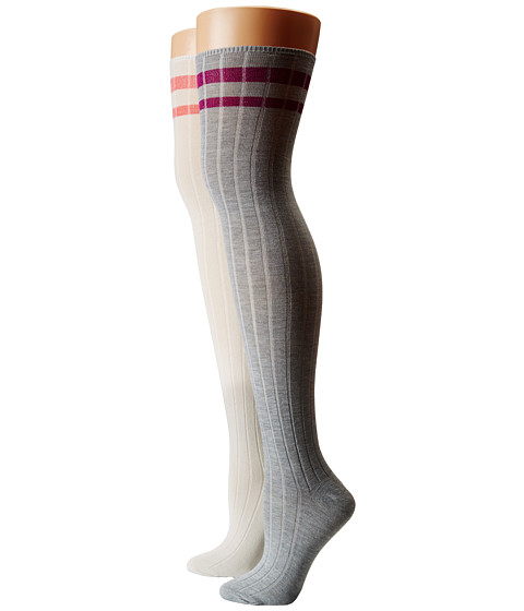 Steve Madden - 2-Pack School Stripe Cuff Ribbed Over The Knee (Off White/Grey Heather) Women's Thigh High Socks Shoes