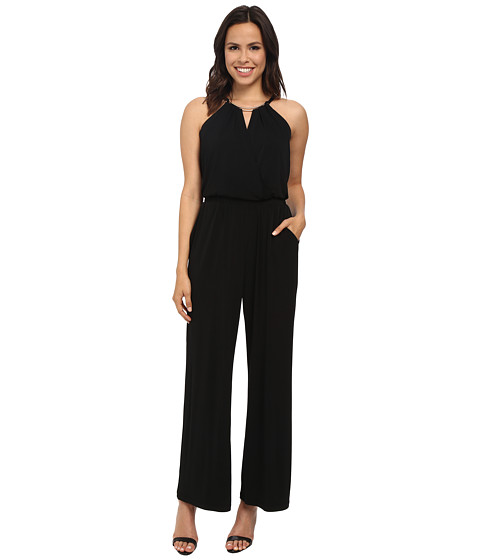 Vince Camuto - Sleeveless Jersey Jumpsuit w/ Wrap Front Neck Hardware (Black) Women