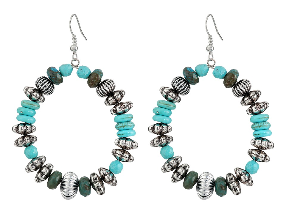 Gypsy SOULE - Turquoise and Silver Loop Earrings (Turqouise) Earring