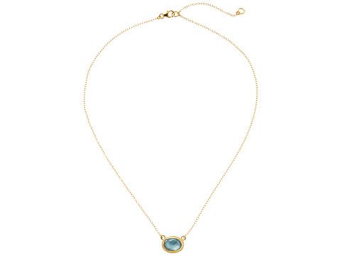 Anna Beck - Side Set Oval Necklace (Aquamarine/Sterling Silver/Gold Vermeil) Necklace