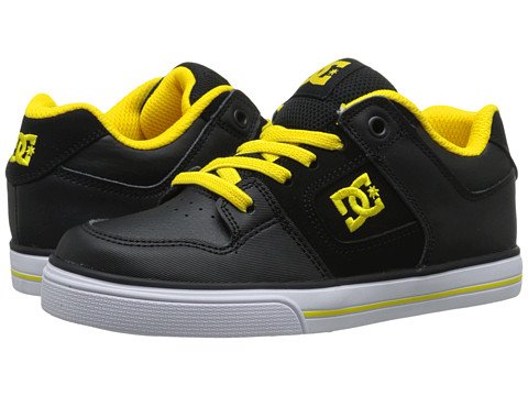 DC Kids - Pure Elastic (Little Kid) (Black/Yellow) Boys Shoes