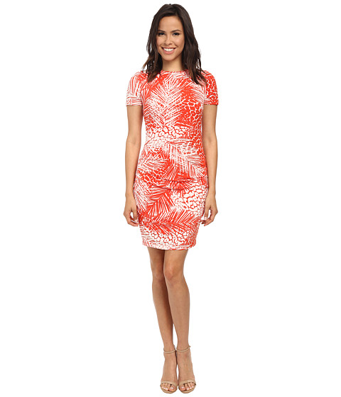 Vince Camuto - Short Sleeve Palm Leave Printed Jersey Bodycon w/ Ruching (Print) Women's Dress