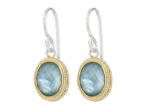Anna Beck - Oval Drop Earrings (Aquamarine/Sterling Silver/Gold Vermeil) Earring