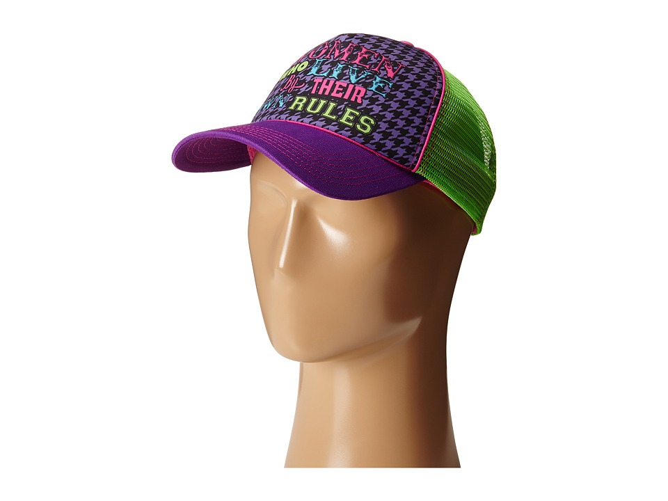 Gypsy SOULE - Women Who Live By Their Own Rules Trucker Hat (Purple/Green) Caps