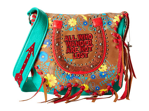 Gypsy SOULE - All Who Wander Are Not Lost Flap Shoulder Bag (Brown) Shoulder Handbags