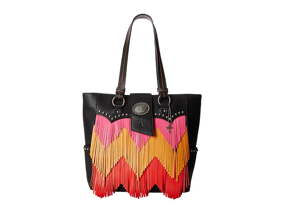 Gypsy SOULE - Cheveron Fringe Tote (Black) Tote Handbags