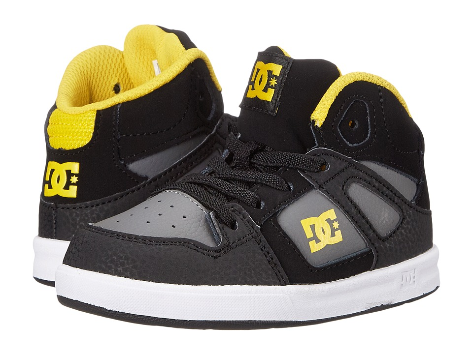DC Kids - Rebound UL (Toddler) (Black/Grey/Yellow) Boys Shoes