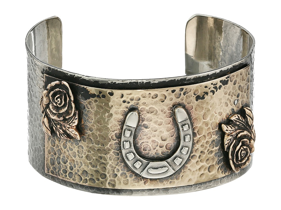 Gypsy SOULE - Horseshoe Roses Hammered Silver Cuff (Silver) Bracelet