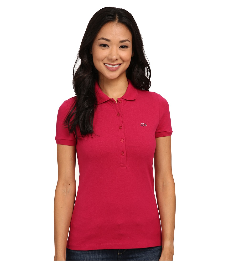 Lacoste - Short Sleeve Slim Fit Stretch Pique Polo Shirt (Fairground Pink) Women's Short Sleeve Knit