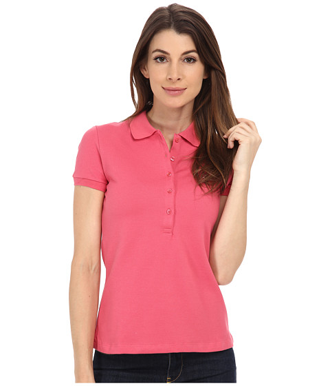 Lacoste - Short Sleeve Slim Fit Stretch Pique Polo Shirt (Candy Box Pink) Women