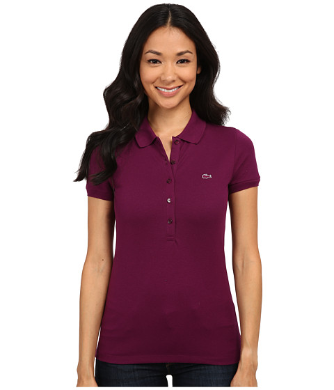 Lacoste - Short Sleeve Slim Fit Stretch Pique Polo Shirt (Urchin Purple) Women's Short Sleeve Knit