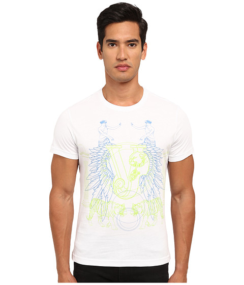Versace Jeans - Mirrored Greco Tiger Print T-Shirt (White) Men's T Shirt