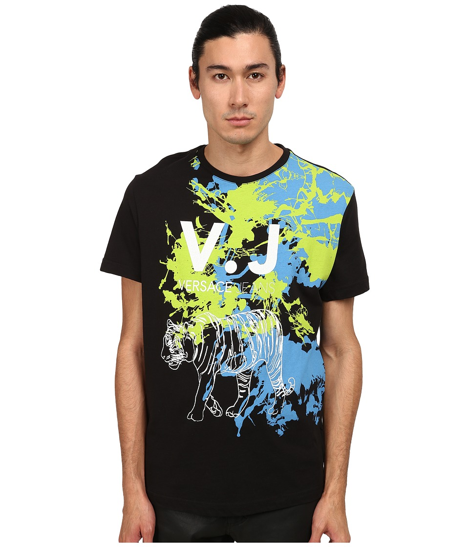 Versace Jeans - Splatter Paint Tiger T-Shirt (Black) Men's T Shirt