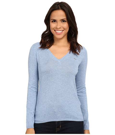 Lacoste - Long Sleeve Cotton Double Overlay V-Neck Sweater (Cloud Blue) Women's Long Sleeve Pullover
