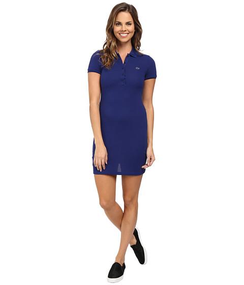 Lacoste - Short Sleeve Classic Pique Polo Dress (Varsity Blue) Women's Dress