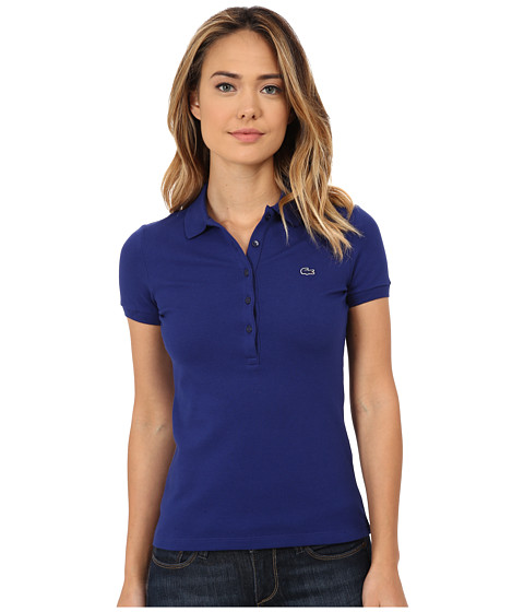 Lacoste - Short Sleeve Slim Fit Stretch Pique Polo Shirt (Varsity Blue) Women's Short Sleeve Knit