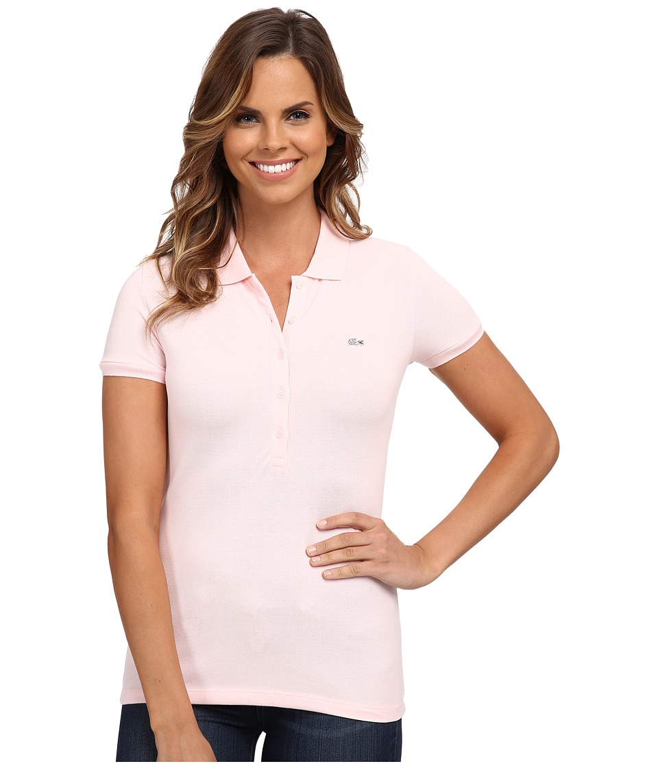 Lacoste - Short Sleeve Slim Fit Stretch Pique Polo Shirt (Flamingo Pink) Women's Short Sleeve Knit