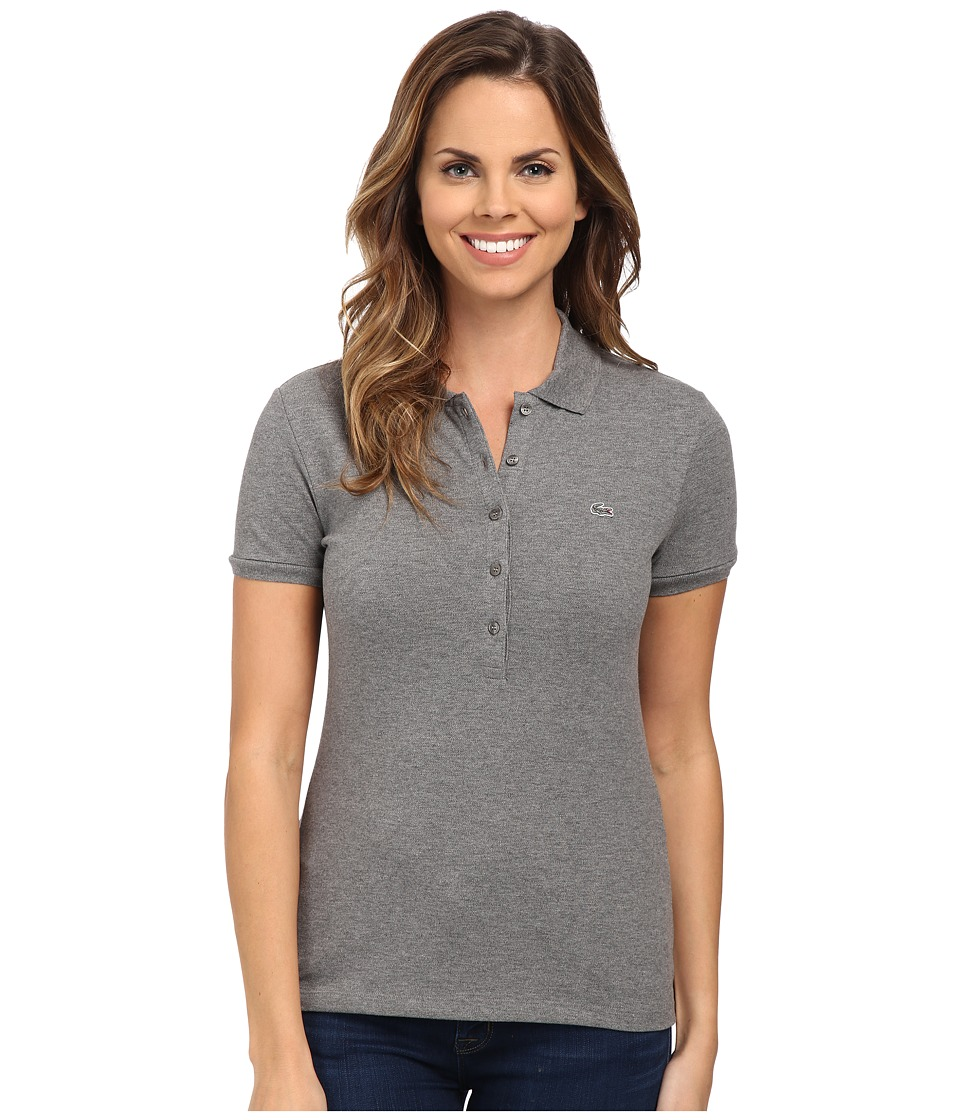 Lacoste - Short Sleeve Slim Fit Stretch Pique Polo Shirt (Stone Grey) Women's Short Sleeve Knit