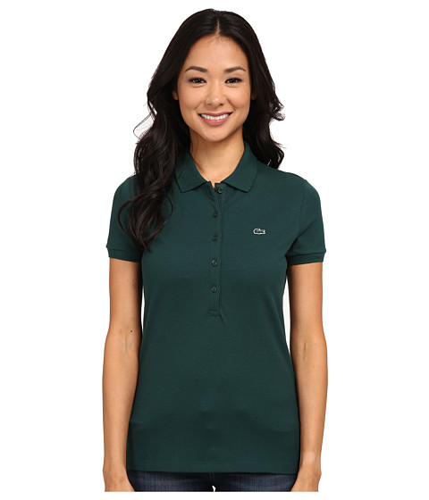 Lacoste - Short Sleeve Slim Fit Stretch Pique Polo Shirt (Evergreen) Women