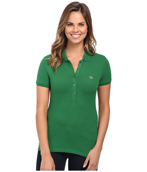 Lacoste - Short Sleeve Slim Fit Stretch Pique Polo Shirt (Rocket Green) Women