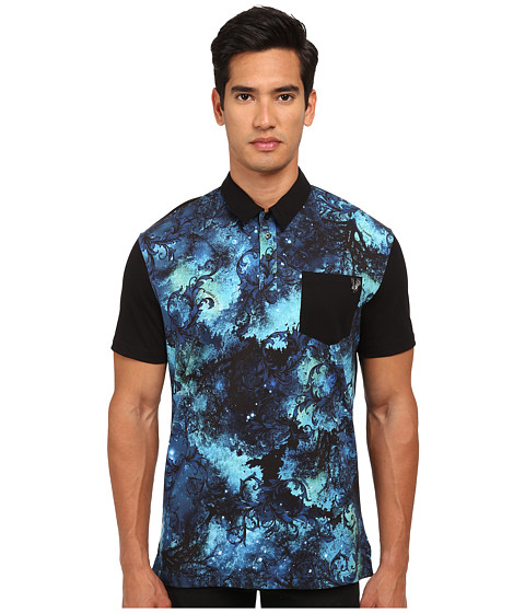Versace Jeans - Baroque Trees Print Polo (Print Blue) Men's Clothing