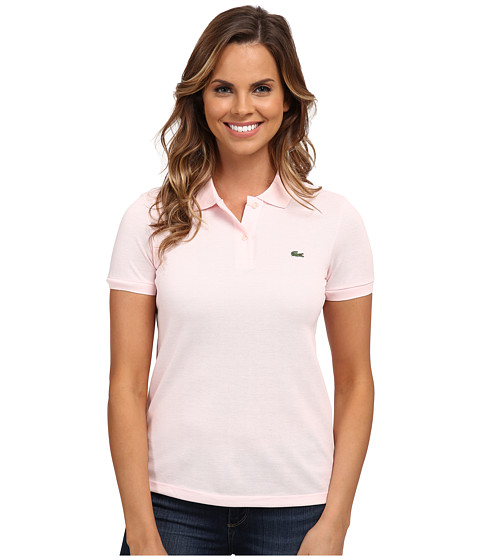 Lacoste - Short Sleeve Classic Fit Pique Polo Shirt (Flamingo Pink) Women's Short Sleeve Knit