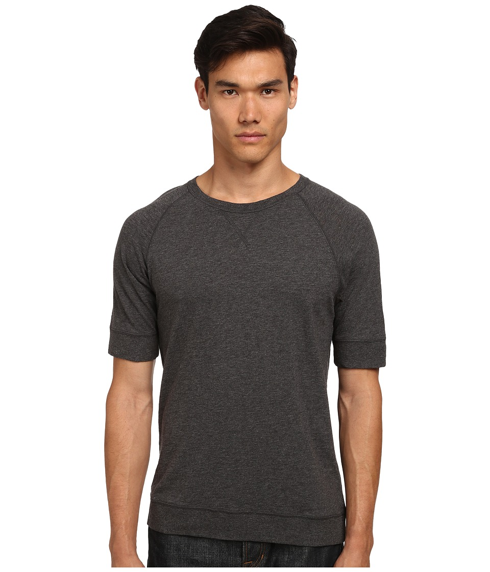 Vince - Short Sleeve Crew Raglan Slub Top (Heather Carbon) Men's Clothing