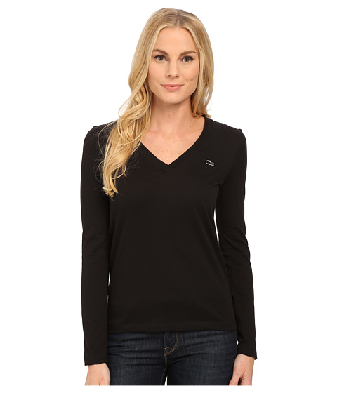 Lacoste - Long Sleeve Cotton Jersey V-Neck Tee Shirt (Black) Women's T Shirt
