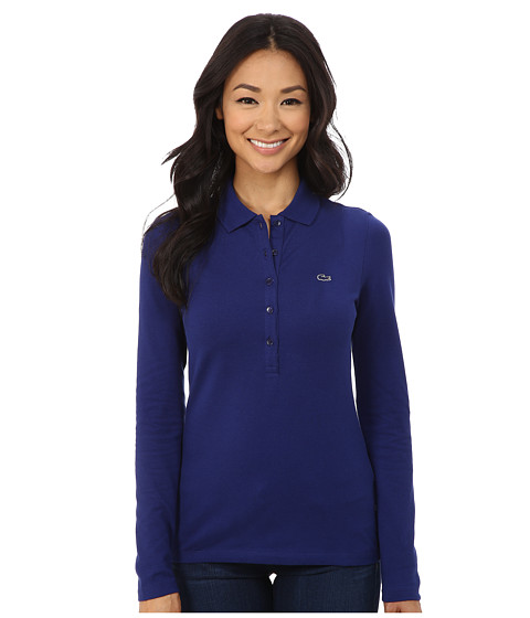 Lacoste - Long Sleeve Stretch Pique Polo (Varsity Blue) Women's Long Sleeve Pullover