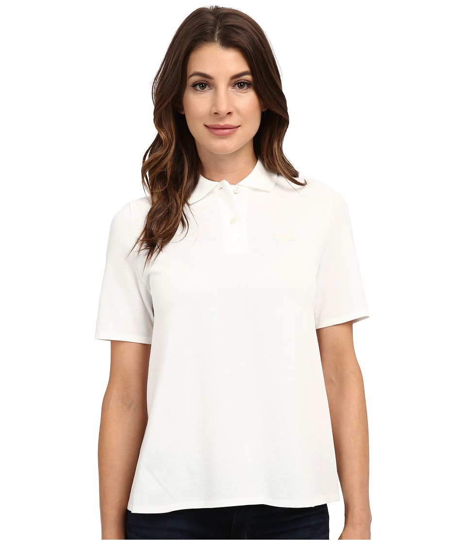 Lacoste - Short Sleeve Pleated Back Pique Polo (Cake Flour White) Women's Short Sleeve Pullover